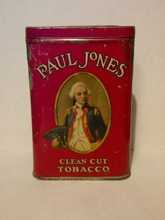 Scarce Paul Jones Tobacco Pocket Tin Can RED version! Contenential Tobacco Co
