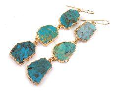 Gemstone Slice Earrings Turquoise Long Dangle by DoolittleJewelry, $189.00