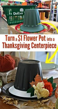 Use an upside down flower pot to make an easy and frugal Thanksgiving table centerpiece! Use an upside down flower pot to make an easy and frugal Thanksgiving table centerpiece! Manualidades Halloween, Diy Y Manualidades, Halloween Crafts, Holiday Crafts, Dollar Tree Halloween Decor, Fall Halloween, Holiday Ideas, Thanksgiving Hat, Thanksgiving Centerpieces