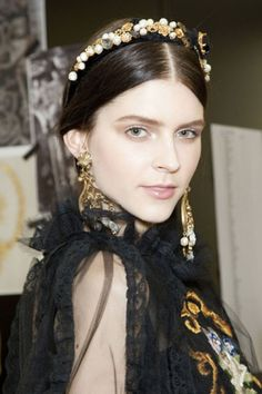 Statement hair accessories turned up at multiple shows, often sharing (or stealing) the spotlight from their accompanying updos. Dolce