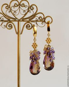 "Купить Серьги ""БРАВО"" аметрин, аметист, цитрин, позолоченное серебро - фиолетовые серьги Wire Wrapped Jewelry, Wire Jewelry, Jewelry Crafts, Beaded Jewelry, Jewelery, Gemstone Earrings, Beaded Earrings, Earrings Handmade, Handmade Jewelry"