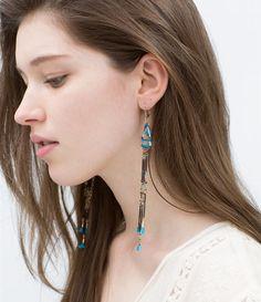 ZARA - WOMAN - COLORED CHAIN AND THREAD EARRINGS