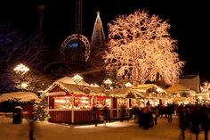 Liseberg Park and Christmas Market in Gothenburg, Sweden, is Scandinavia's grandest, with five million twinkling lights, 700 Christmas trees and 80 rustic market stalls. Christmas Markets Europe, Christmas Lights, Christmas Holidays, Christmas Stuff, Vintage Christmas, Sweden Christmas, Christmas Scenery, Pre Christmas, Lights