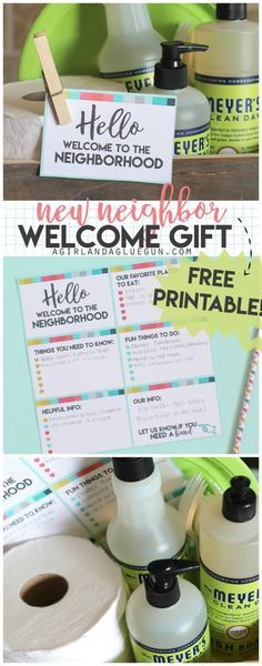fun gift package idea to welcome new neighbors to the neighborhood. Lots of clever ideas