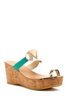 f0edc9e1e Ciao Bella Lucy Cork Wedge Leather Sandal