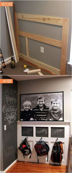 21 amazing DIY before after entryway makeovers! These dramatic transformations will inspire you to create a beautiful, functional and welcoming entryway! - A Piece Of Gorgeous (& Achievable!) Before After DIY Entryway amazing DIY be Before And After Diy, Diy Casa, Home Organization, Organizing, White Board Organization, Small Entryway Organization, Diy Entryway Storage, Organized Entryway, Mudroom