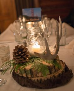 Maybe have painted antlers in centerpieces? Maybe some accents of gold, turquoi… - Hochzeit Winter Wedding Centerpieces, Table Centerpieces, Wedding Table, Rustic Wedding, Table Decorations, Antler Wedding Decor, Camo Wedding Decorations, Wedding Burlap, Centerpiece Ideas