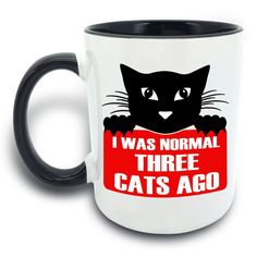 Funny Mug - I Was Normal Three Cats Ago - 11 OZ Coffee Mugs - Gift for Best Dad Mom Husband Wife Uncle Aunt Grandpa Grandma Ever Ceramic Mug White Black >>> Don't get left behind, see this great cat product : Cat mug
