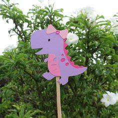 Girl TRex Dinosaur Cupcake Toppers  Set of 12 by MonkeyLimeStudios