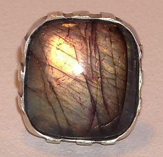 anillo plata envejecida y labradorita