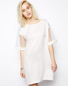Pippa Lynn T-Shirt Dress with Organza Sleeve http://picvpic.com/women-dresses-cocktail-party-dresses/pippa-lynn-t-shirt-dress-with-organza-sleeve#white