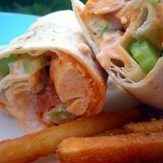 "Buffalo Chicken Wraps | ""My husband loves hot wings and he loved this recipe, he is still talking about them!"""