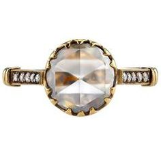 1.75 Carat Rose Cut Diamond Gold Engagement Ring