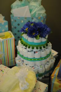 Baby shower diaper cake.  Cute as a button theme.  Baby boy shower.
