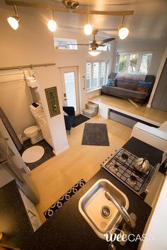 The Nun's House: a bright and spacious tiny house with 240-sq-ft interior, available for rent at the WeeCasa Tiny House Resort.