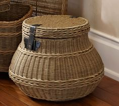 Jacquelyne Lidded Barrel Basket   Pottery Barn