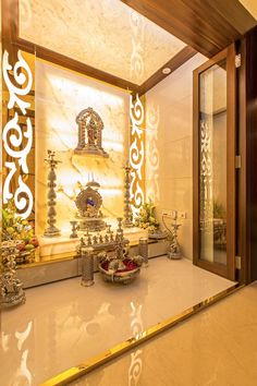 God Room Design Door Pooja room door designs in wood and glass are very popular. Wooden doors add some ethnic charm. 156 Best Temple Images Pooja Room Design Pooja Rooms P. Temple Room, Home Temple, Temple India, Temple Bar, Indian Temple, Living Room Interior, Home Decor Bedroom, Lobby Interior, Cafe Interior