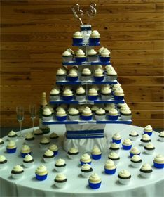 Cupcake wedding tower. Blue, silver & white color scheme.