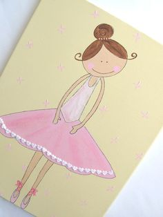 Kids wall art- pink and ballerina canvas painting for girls room, children… Kids Painting Projects, Canvas Art Projects, Kids Canvas Art, Art Wall Kids, Painting For Kids, Art For Kids, Wall Art, Kid Art, Girls Room Paint