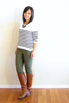olive jeans and breton top with brown scrappy shoes instead of boots