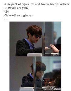 """Kpop meme """"Poor Luhan :D """" *lol he looks 24 w/sunglasses, w/o he suddenly looks Poor Lulu! Exo Memes, Funny Kpop Memes, Kdrama Memes, Btob, Cnblue, K Pop, Vixx, Chanyeol, Day6 Sungjin"""
