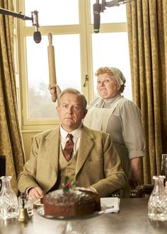''Downton Abbey'' Mayhem at Abbey Hugh Bonneville as Robert Crawley Leslie Nicol as Mrs. Patmore Who Stole the Chocolate Cake? Downton Abbey Cast, Lady Violet, Hugh Bonneville, Dowager Countess, British Humor, Cozy Mysteries, Murder Mysteries, Fandoms, Mystery Novels