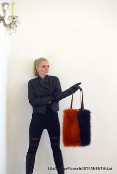 STERNENTAU handmade bags  #orange #lila #fake #fur #shopper Fur Bag, Fake Fur, Handmade Bags, Austria, Knee Boots, Winter Jackets, Orange, Fashion, Winter Coats