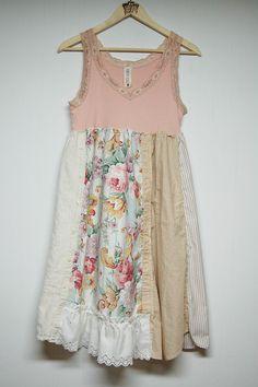 Large Shabby Boho Chic Dress Mori Girl Light by PrimitiveFringe