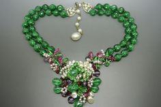 Vintage French Louis Rousselet Green Melon Poured Glass Faux Pearl Necklace   eBay