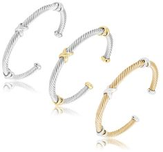 6/20/2012  $9.99  + FREE SHIPPING Designer Inspired Stainless Steel Cable Bangle with Criss Cross Design - Silver, Gold/Silver or Silver/Gold