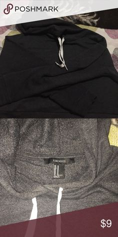Forever 21 hoodie Gray hoodie crop top. Size medium could fit large. Forever 21 Tops Sweatshirts & Hoodies