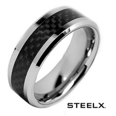 dfba687136 $14.99 - Steelx Stainless Steel Polished Finish Black Carbon Fiber Men's Ring  Wedding Ring For Her