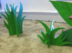 Blades of grass made out of rigid foam, from Lifeway's Preview Event in Fort Worth, TX.  Image Only Journey off the Map VBS 2015