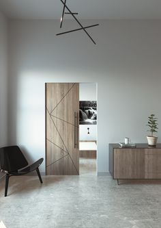 The MAGIC 2 is a wall mount sliding system for wood doors weighing up to 176 lbs kg) each. This unique concealed hardware and running track create the illusion that the door is floating. Wooden Sliding Doors, Sliding Door Systems, Wooden Door Hangers, Panel Doors, Windows And Doors, Sliding Door Window Treatments, Hotel Door, Soft Flooring, Aluminium Doors