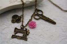 Sewing Machine Necklace Vintage Button Bronze Love Sew Handcrafter Rose Flower…