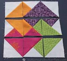 Buttons and Butterflies: Card Trick Block {Tutorial} Charm Pack Quilt Patterns, Quilt Square Patterns, Card Patterns, Quilt Block Patterns, Pattern Blocks, Square Quilt, Triangle Quilt Tutorials, Quilting Tutorials, Quilting Projects