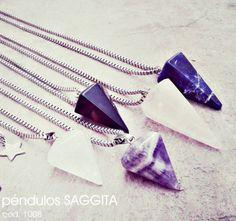 Péndulos : cuarzo cristal, amatista,cuarzo rosa, agata negra, agata azul
