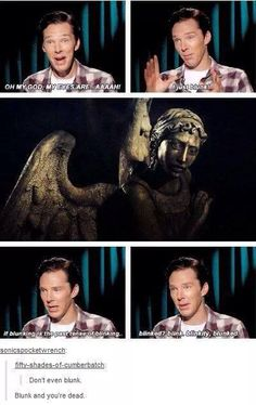 Blunk and you're dead. Weeping angels should go to Doctor Who and Benedict should go to Sherlock? Doctor Who, Detective, Ace Attorney, Fandom Crossover, Dc Memes, Funny Memes, Amanda Abbington, Don't Blink, Sherlock Bbc