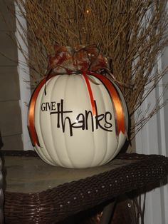 PersonalizedThanksgiving and Halloween Pumpkins with Ribbon