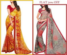 From beautiful prints, embellishments and intricate work on #sarees and #lehengas to nicely designed #salwarsuit they offer elegant and classy medley. Get flat 70% off on the collection of #Triveni.