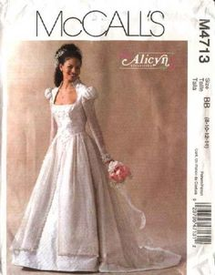McCall's Sewing Pattern 4713 Misses Size 12-18 Alicyn Bridal Wedding Gown Dress Cut On Train  $12.99