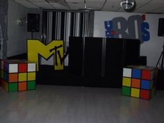 80's party decor... Rubik's Cubes & M TV logos are musts!