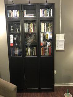 Billy bookcase $79.99-1, billy height extension $35-1, Oxberg panel/glass door $55-2, Oxberg glass door $25-2 total case $274.95