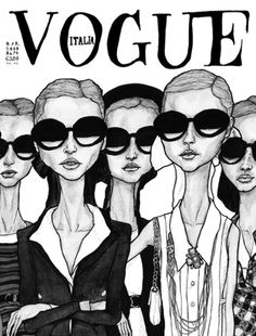 Danny Roberts Fashion Illustration Vogue Print - Girls In Glasses