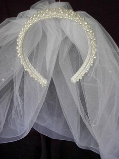 First Communion or Bridal 2 Tier Veil with Pearls by SisiCreations, $35.00