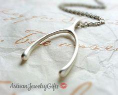 Large Matte Silver Wishbone Necklace Large Wishbone Necklace