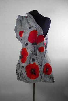 Felted Scarf Poppy scarf Red Poppies Art Wrap Artistic by filcant