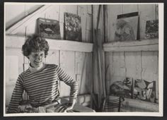 Lois Dodd in her Maine Studio in Cushing, 1969 / unidentified photographer. Lois Dodd papers, Archives of American Art, Smithsonian Institution.