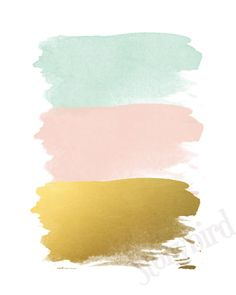 Abstract Brush Strokes - Blush Mint & Gold Wall Print