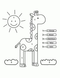 Color by Number Clown coloring page for kids, education coloring pages printables free Wuppsy ...